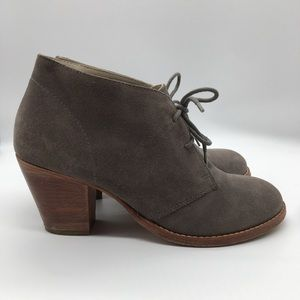 Boden Gray Suede Heel Ankle Lace Up Booties